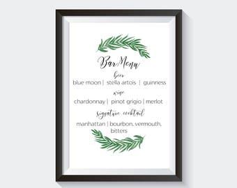 Greenery Bar Menu | Custom Bar Sign, Custom Bar Menu, Greenery Wedding Signs, Printable Bar Menu, Personalized Bar Menu, Custom Greenery