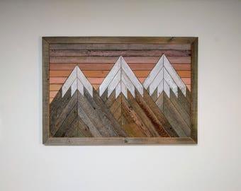 RECLAIMED WOOD wall art mountain scene grey barn boards rustic wood