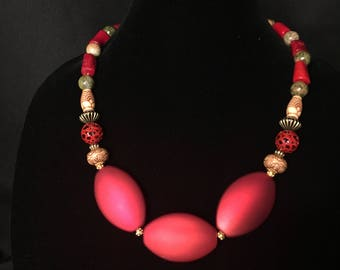 Handmade beaded statement necklace