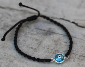 Greek Eye Bracelet, Macrame Bracelet, Evil Eye Bracelet, Waxed Cotton Bracelet, Blue Evil Eye Bracelet, Minimalist Bracelet,  JW0014