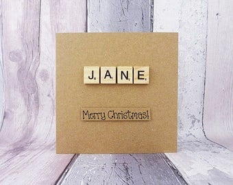 Scrabble name Christmas card, Name in wooden Scrabble tiles, Custom handmade card with alphabet tiles, Personalised Merry Christmas card