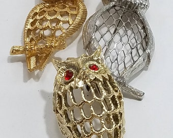 Trio of Fun & Unique Owl Brooches