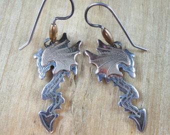 Vintage Sterling Silver & 14K Gold Earrings Artisan Handmade