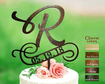 Letter r cake topper, rustic cake toppers for wedding, letter cake topper, wood cake topper, cake topper r, custom cake topper date, CT#306