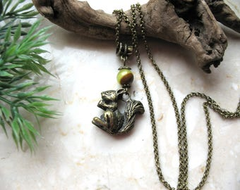 Squirrel necklace, forest creature, onix