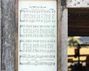 It Is Well Hymn, Wood Sign, Framed Art, Wall Decor, Wall Art