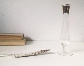 "Vintage Mid Century 8"" Triple Gold Band Vase + Flower Bud Vase + Dorothy Thorpe + Fluted"