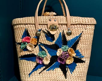 Boho Beach Bag / Mexican Straw Purse with Flowers