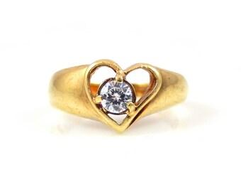 White Sapphire Heart Ring in 10K Gold - X4262