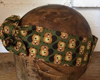1950's Luxury Beaver Print Vintage Style Wire Headband Handmade Gift Idea