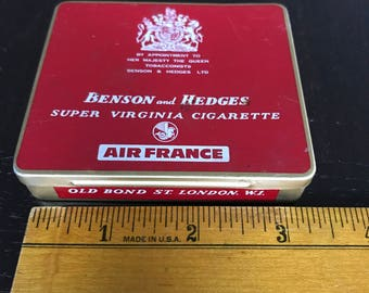 Vintage Cigarette Tin - Benson and Hedges for Air France - FREE SHIPPING