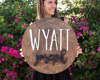 """18"""" Round Custom Name Wood Sign 