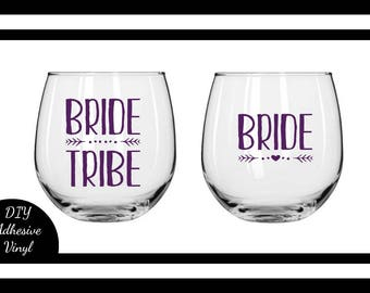 Custom Bride Tribe and Bride Bridesmaid Gift Vinyl Decal for Champagne Flutes, Wine Glasses, Mugs, Glassware!