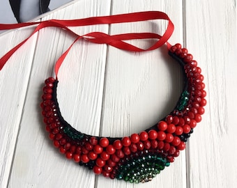 Red necklace, red jewelry, red beaded necklace, modern necklace, bright red necklace, red wedding, necklace for her, red crystal jewelry