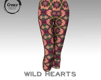 Wild Hearts Yoga Capri - Custom Artwork Tights