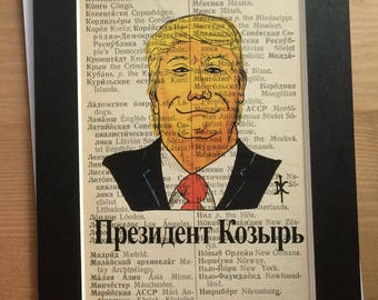 Russian President Trump (Президент Козырь) Parody - Upcycled Russian-English Dictionary page matted (NOT FRAMED)