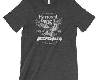 Land of the Free National Parks Eagle Adventure Unisex Bella Canvas Tshirt
