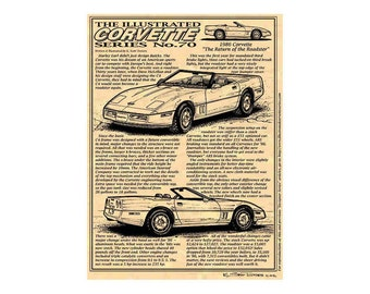 1986 Corvette Convertible Art Print, C4 Corvette,Man Cave Art,Teeters,Nostalgic Corvette,86 Corvette,1986 Production Corvette, Corvette Art