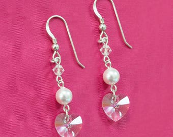 Sterling Silver Drop Earrings with Swarovski Elements White Pearl & Clear Crystal Heart in Presentation Gift Box