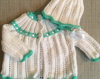0-3 Month Matinee Coat and Matching Bonnet