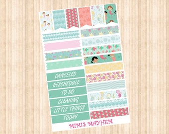 Cute Mermaid Banners & Flags // Happy Planner // Erin Condren //Personal