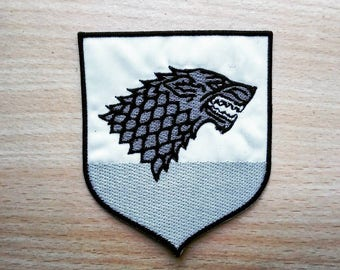 Stark Direwolf Game of Thrones Winter is Coming Embroidered Iron On Patch.top quality!  Embroidered Patch. Badge for T-shirts