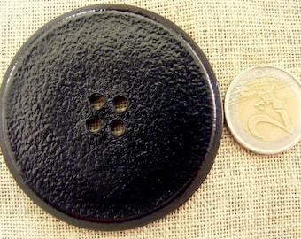 Big black button for decorative pillows, curtains, clothing 6 cm lightweight plastic button