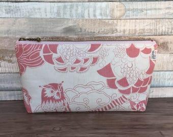 Owl Makeup Bag – Unique Pink Scandinavian Linen Japanese Fabric Handmade Unique Print – Cosmetics Bag, Zipper Pouch, Zippered Toiletry Bag