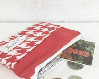 Coin purse, houndstooth, red leaf, pouche