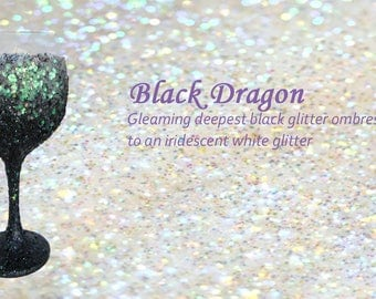 Black Dragon Glitter Wine Glass
