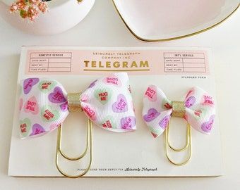 Conversation Hearts Bow Planner Clips