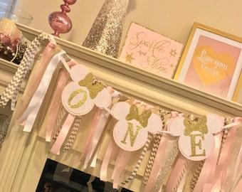 Happy Birthday Banner, Pink Minnie Mouse First Birthday Girl , Minnie Decorations, Minnie Mouse, Banner, Birthday