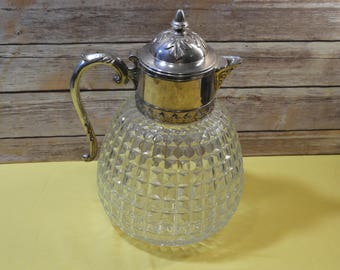 Vintage Mid Century Pressed Glass Pitcher w/Silver Plated Top, Inverted Diamond Hobnail Water Jug,Decorative Collectible Art, Made in Italy