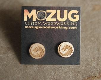 Wooden Dragon earrings - lasercut - maple