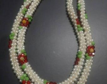 Vintage crochet Beaded flower Rope necklace
