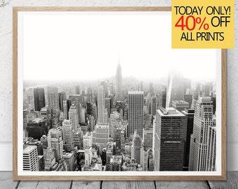 New York Print,  New York Skyline, City Skyline Print, Black and White Photography, New York Poster, Large Wall Art Print, City Scape