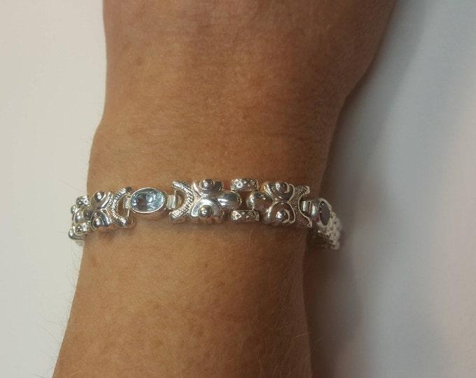Vintage Milor Solid Sterling Silver Bracelet with Amethysts and Blue Topaz