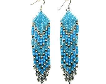 Fringe Earrings - Blue Turquoise/Silver