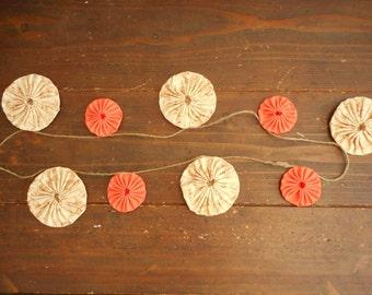 Yo-yo quilt garland , Fabric garland , Home decor , Nursery decor