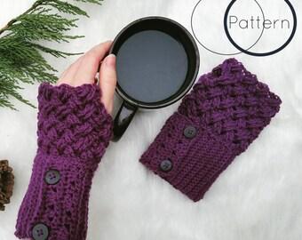 Fingerless Gloves Crochet Pattern/ Celtic Weave Handwarmers Crochet Pattern/ Diagonal Weave Intermediate Crochet Pattern/ The Sophia