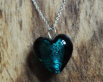 Teal Murano Glass Heart Pendant