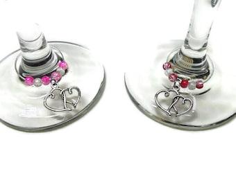 Valentine's Day Wine Glass Charms; Heart Wine Glass Charms; Wedding Wine Charms; Party Wine Glass Charms: Love Wine Glass Charms