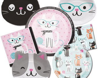 Pretty Kitty Birthday Party Plates/ Cat Birthday Party Plates/ Kitty Party Plates/ Cat Party