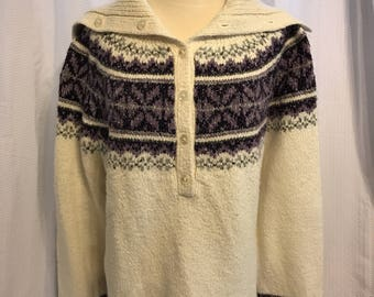 Knit Icelandic Style Sweater, Plus Size Turtleneck Pullover, Purple And White Vintage 70s