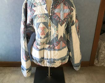 Quilted Zippered Jacket, Vintage Blues and White, Size Large to XL, Handmade Light to Medium Weight Quilting
