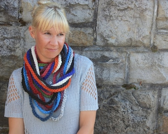 Multi Colour Infinity Chain Scarf