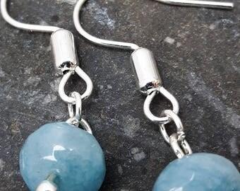 Drop Earrings. Lovely Pale Blue Stone.