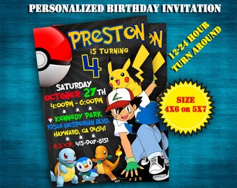 Pokemon invitation/ Pokemon go invitation/ Pokemon birthday invitation/ Pokemon party/ Personalized/ Printable/ Custom invite/Birthday party