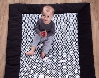 47''x67'' Large, thick and warm educational play mat/ Padded play mat /Baby play mat/Baby rug/Nursery decor 120x170 cm BLACK MAROKO