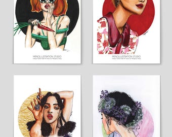 A Set of 4 Postcards,Art Print,Fashion Wall Art,Holiday Gift,Home Decor,Fashion illustration,Digital Print,Fashion Clipart,Vogue,Modern Art,